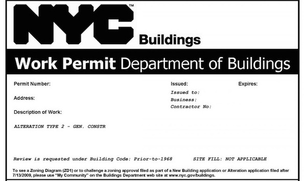 getting a permit for a full apartment renovation in nyc